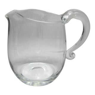Clear Blown Italian Art Glass Cocktail Pitcher For Sale