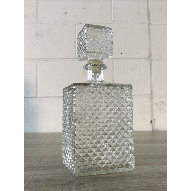 Vintage Diamond Point Glass Decanter For Sale - Image 4 of 10