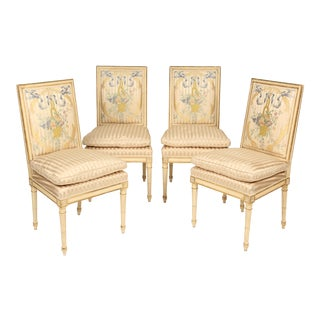 1960s Vintage Louis XVI Style Painted and Partial Gilt Side Chairs- Set of 4 For Sale
