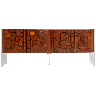 Custom Handcrafted Brutalist Credenza by Lou Ramirez For Sale