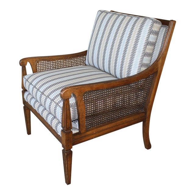 Mid-Century Newly Reupholstered Side Chair With Caning For Sale
