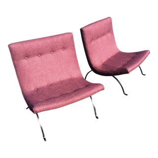 Milo Baughman Mid-Century Modern Purple Scoop Chairs - a Pair