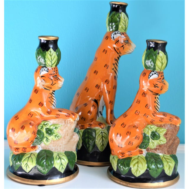Vintage Palm Beach Regency Leopard Candle Holders- Set of 3 For Sale - Image 4 of 9