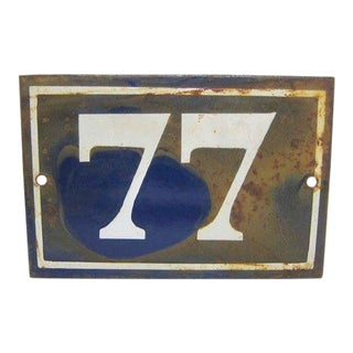 Vintage Mid-Century Enamel Number 77 Sign For Sale