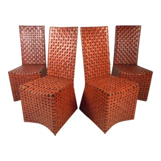 Vintage Modern Woven Leather Chairs, Set of 4 For Sale