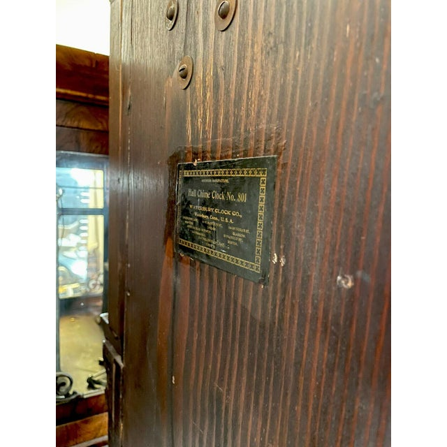 """1910s Antique Waterbury Grandfather Clock - """"801 Hall Chime Clock"""" Model For Sale - Image 5 of 13"""