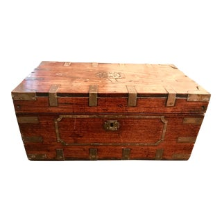 1970s Rustic Wooden Jewelry Chest With Brass Inlays
