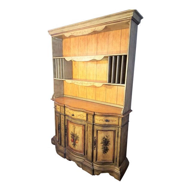 Tuscan Style Wood Dining Buffet Hutch For Sale