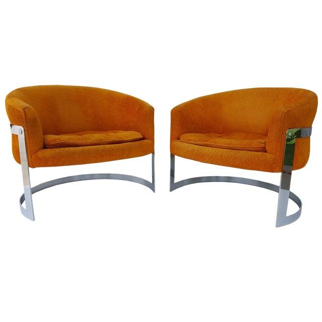 1960s Vintage Milo Baughman Barrel Back Chairs - A Pair For Sale