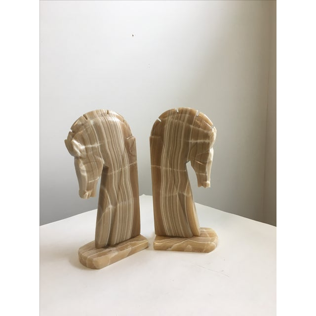 Mid-Century Modern Horse Head Bookends Carved Onyx Stone - a Pair For Sale - Image 3 of 10