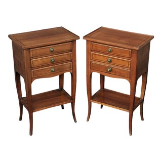 French Chestnut Nightstands or Side Tables - a Pair For Sale