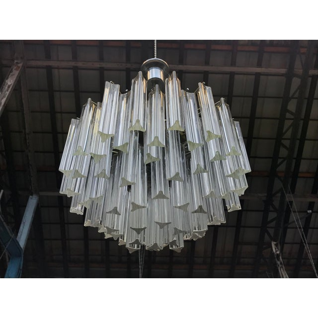 Glass 1960s Italian Murano Glass Prism Chandelier For Sale - Image 7 of 7