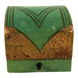 Art Deco Green & Gold Ring Box For Sale