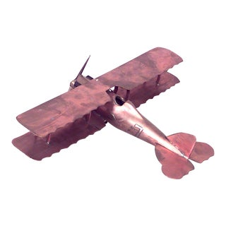 Vintage Copper and Brass Airplane Model For Sale