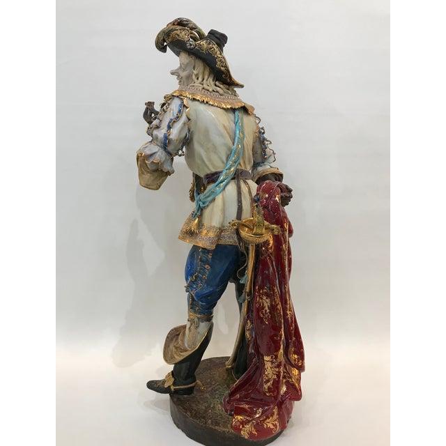 Monumental Early 20th Century Professor E. Pattarino Italian Polychrome and Gilt Terracotta Majolica Cyrano De Bergerac Statue For Sale - Image 10 of 13