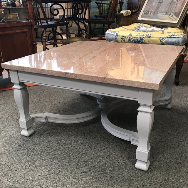 Granite Top Coffee Table With Gray Painted Neo Classic Base. For Sale - Image 4 of 4