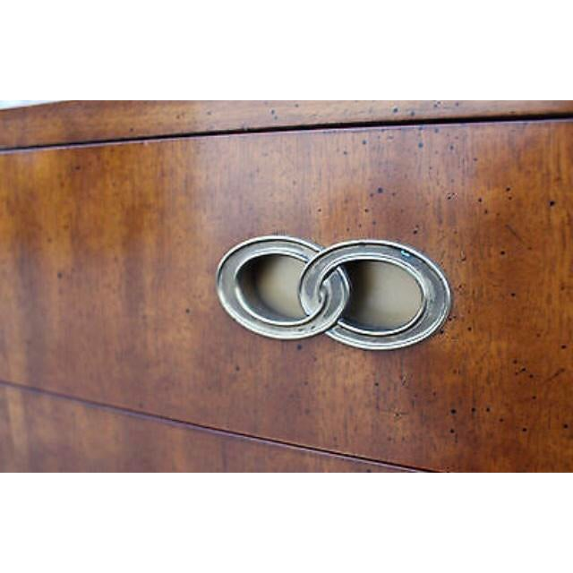 """Beautiful mid century Michael Taylor for Henredon 8-drawer dresser with infinity/double ring or """"wedding ring"""" hardware in..."""