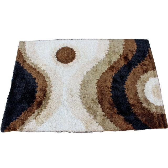 Textile Mid Century Modern Large Shag Rya Wool Area Rug Carpet Black Brown Beige 60s 70s For Sale - Image 7 of 7