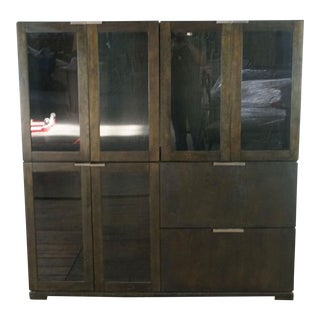 Crate & Barrel Glass Front Modular Buffet Cabinet For Sale