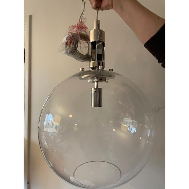 Brand New In Box - could not use at a project! Visual Comfort Gable Large Globe Pendant in Polished Nickel with Clear...
