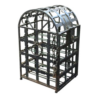 Mid-Century Modern Wrought Iron Wine Safe For Sale