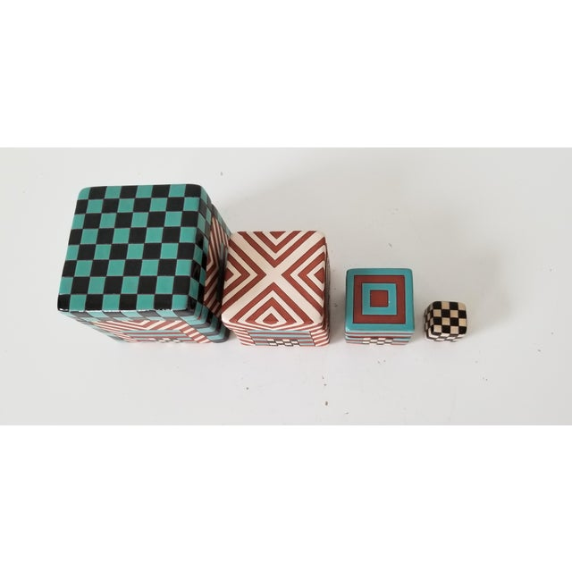 Postmodern Artistic Stacking Decorative Ceramic Boxes - Set of 4 For Sale In Miami - Image 6 of 9