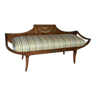 1940s Mid-Century Modern Grosfeld House Wood Painted Upholstered Bench For Sale