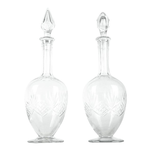 Mid Century Cut Crystal Drinks Decanters - a Pair For Sale