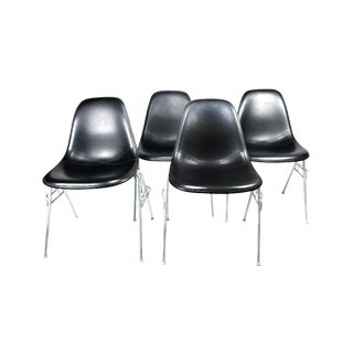 Black Upholstered Eames Stacking Chairs for Herman Miller - Set of Four For Sale
