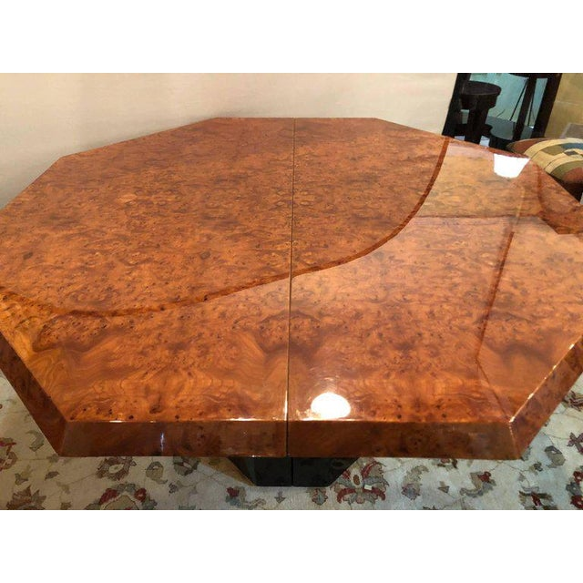 Mid-Century Milo Baughman For Thayer Coggin Burl Walnut Octagonal Dining Table For Sale - Image 4 of 12