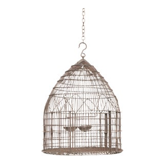Antique Wire Wrapped Dome Shape Iron Bird Cage, 19th Century For Sale