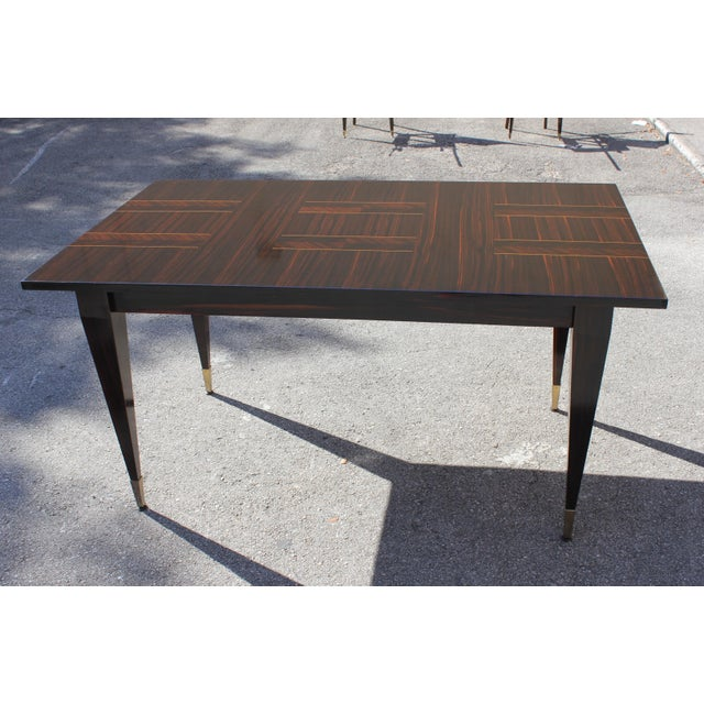 1940s Art Deco Exotic Macassar Ebony Writing Desk / Dining Table For Sale - Image 13 of 13