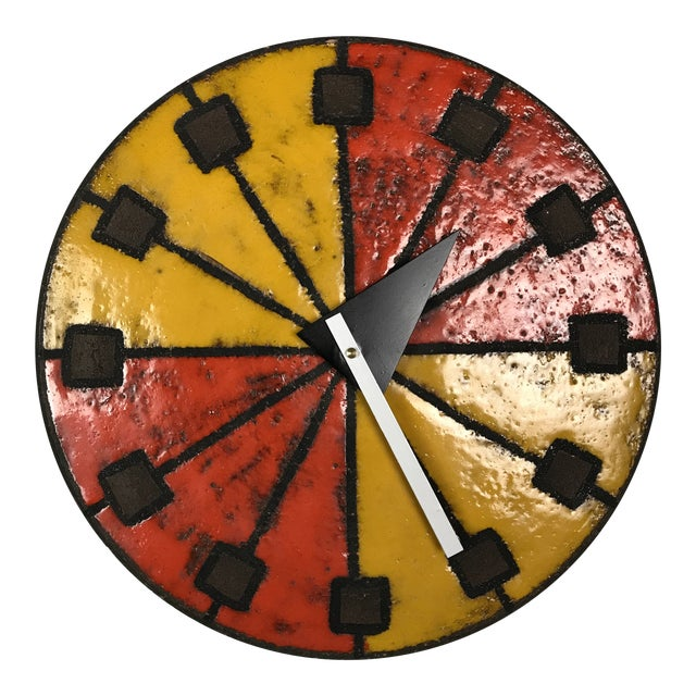 Mid-Century Modern 1960's Italian Ceramic Wall Clock by Bitossi & George Nelson For Sale