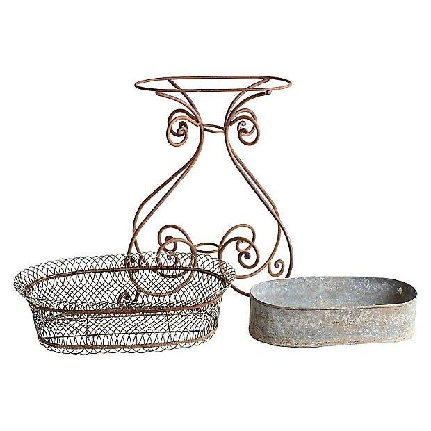 Vintage Wire Flower Box on Iron Stand - Image 2 of 4