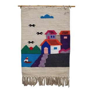 1970s Boho Chic Hand Woven Macrame Wall Art Hanging For Sale