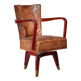 Leon Jallot Swiveling Desk Chair, France, 1930s For Sale
