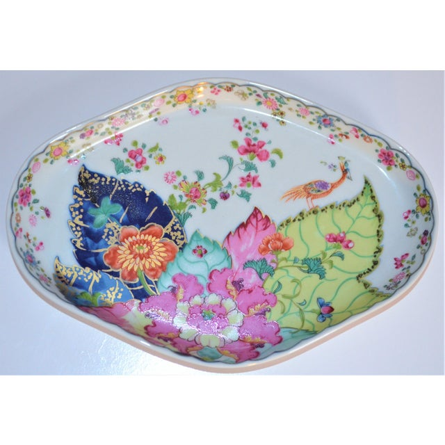 Chinoiserie Vintage Mottahedeh Tobacco Leaf Porcelain Oval Tray For Sale - Image 3 of 8