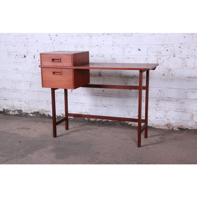 Swedish Modern Petite Teak Vanity Desk or Console Hall Table by Glas & Trä For Sale - Image 11 of 11