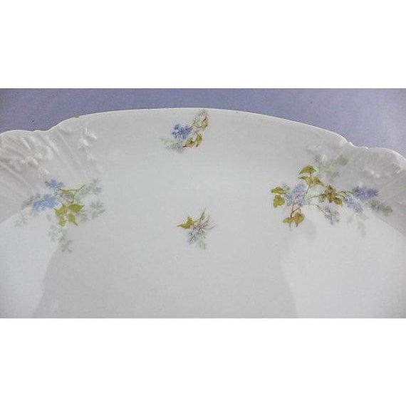 """Antique gilded floral decorated porcelain serving platter. Maker's mark reads """"Havilland Limoges France."""" 14'L X 9.5"""" W"""