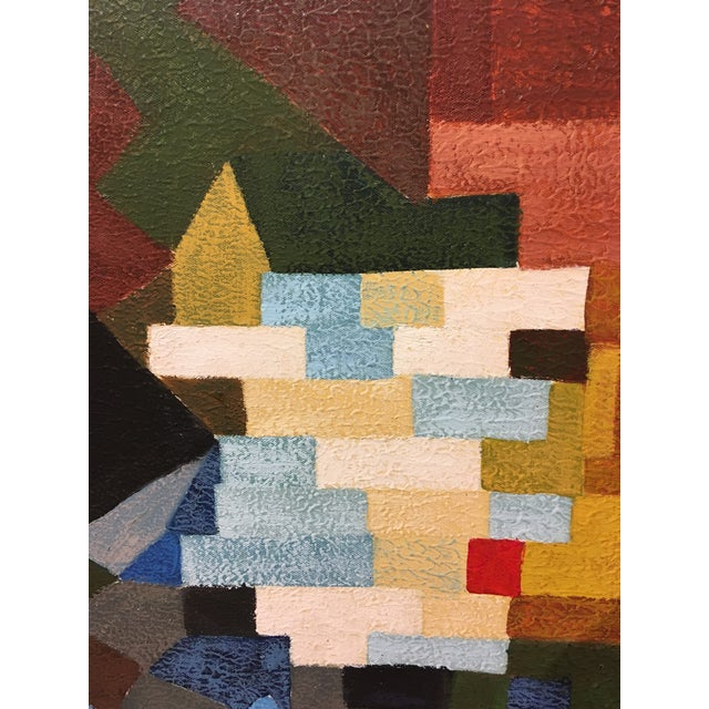 1970s Vintage Abstract Geometric Oil Painting on Canvas For Sale - Image 5 of 10