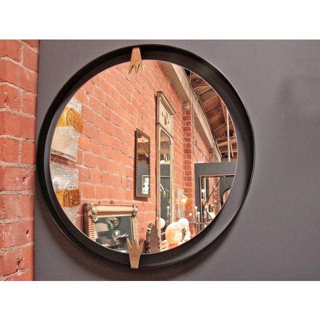 Modern Iron and Brass Moderne Mirror For Sale - Image 3 of 6