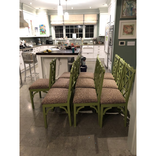 Custom Chinese Chippendale Green Chairs - Set of 10 - Image 4 of 11