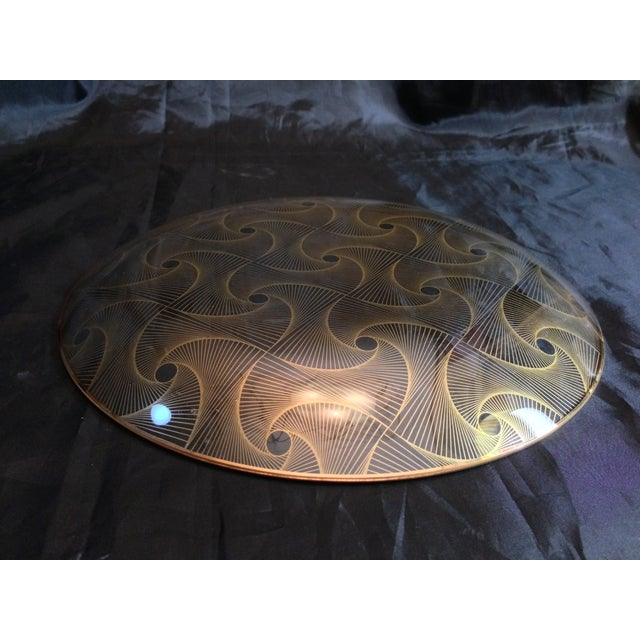 Op Art Gilded Glass Serving Plate - Image 7 of 10