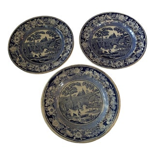Wild Rose Chinoiserie Blue & White Staffordshire Plates - Set of 3 For Sale