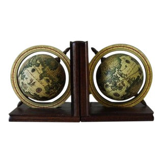 1970s Mid Century Modern Globe Bookends - a Pair For Sale