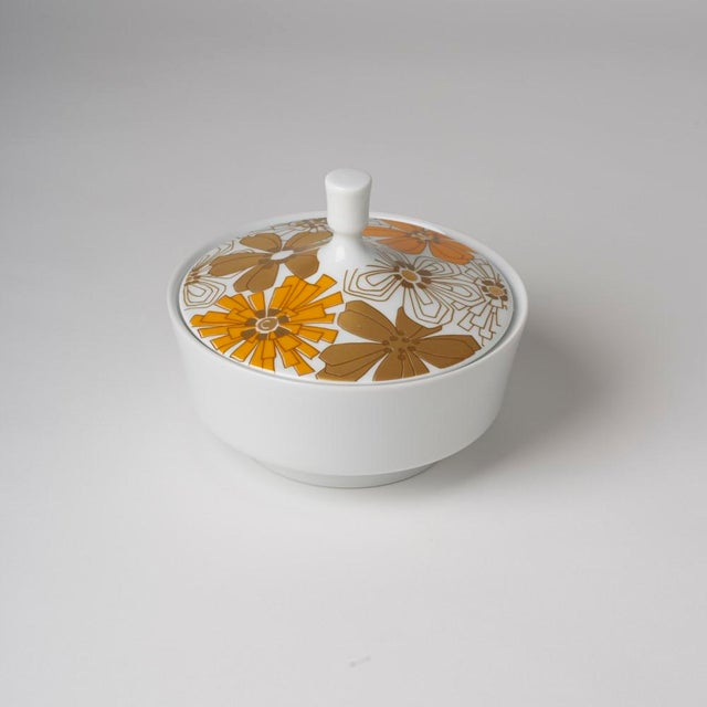 Ceramic Mid Century Vintage Op Art Floral Covered Dish For Sale - Image 7 of 7