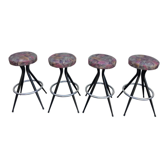 1950s Mid Century Modern Patterened Swivel Bar Stools - Set of 4 For Sale