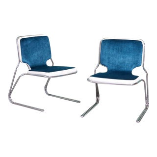 Italian Blue Velvet Upholstered Chrome Chairs - a Pair For Sale