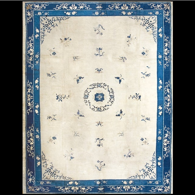 "Textile Antique Chinese Peking Rug 10'2"" X 13'2"" For Sale - Image 7 of 7"