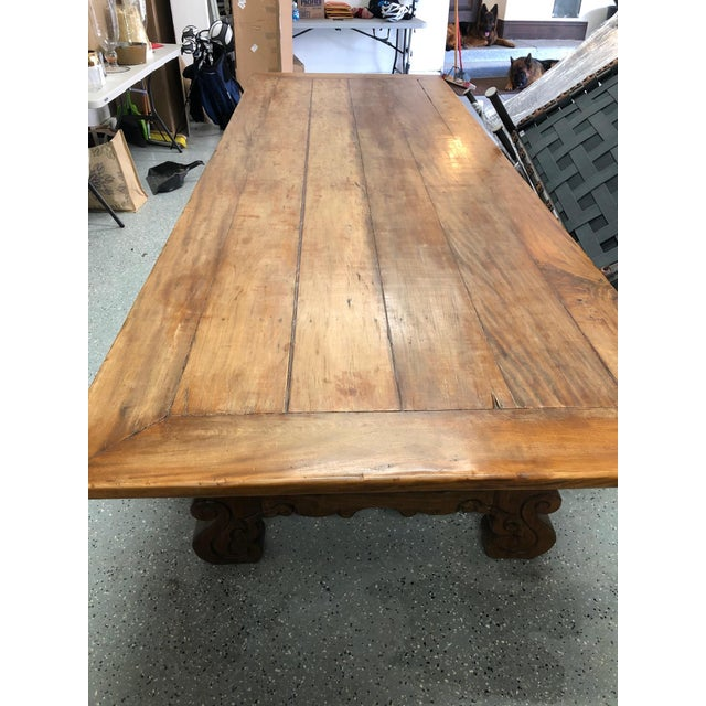 Spanish Designer Reclaimed Wood XL Dining Table For Sale - Image 4 of 13